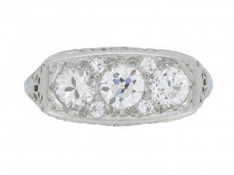 front view Edwardian diamond three stone ring