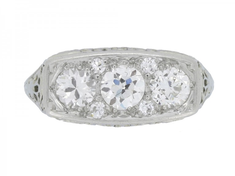 front view Edwardian diamond three stone ring