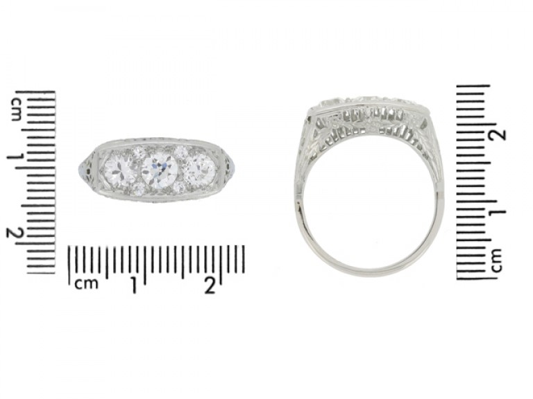 size view Edwardian diamond three stone ring
