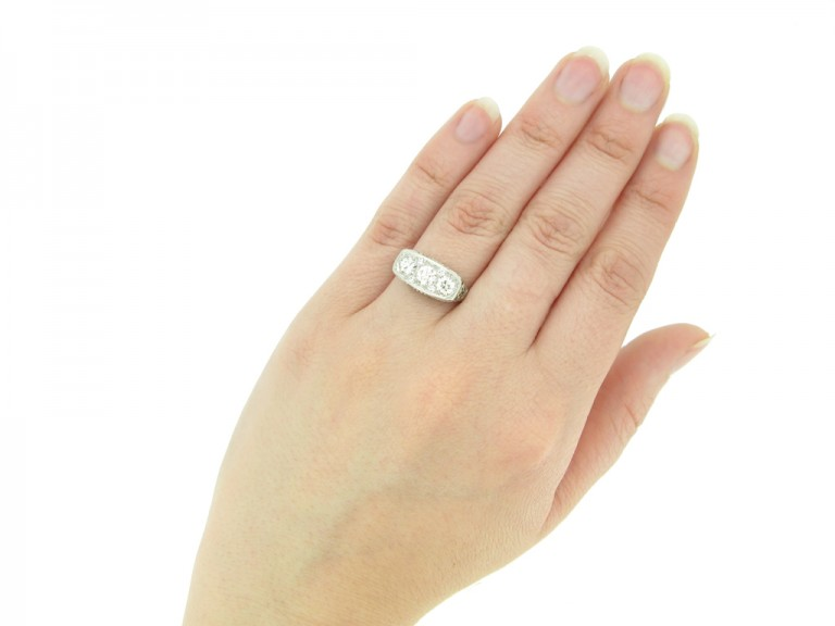 hand view Edwardian diamond three stone ring