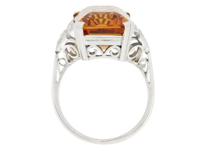 back view Art Deco Imperial precious topaz and diamond ring, circa 1930.