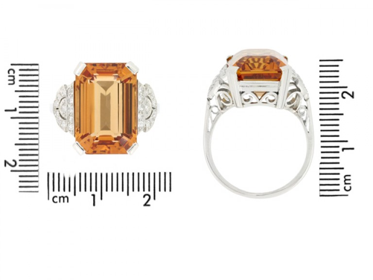 size view Art Deco Imperial precious topaz and diamond ring, circa 1930.