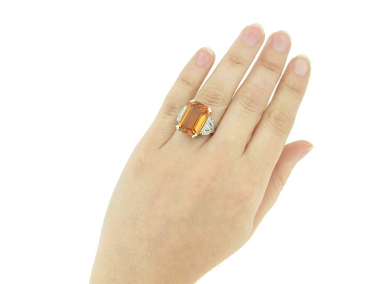 hand view Art Deco Imperial precious topaz and diamond ring, circa 1930.