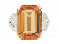 front view Art Deco Imperial precious topaz and diamond ring, circa 1930.
