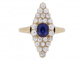front view Antique sapphire and diamond cluster ring, circa 1900.
