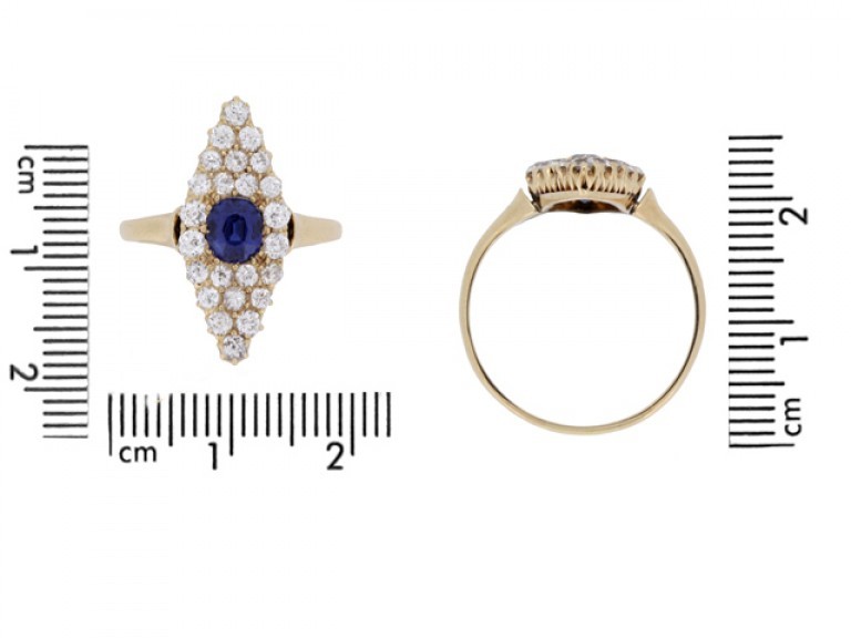 size view Antique sapphire and diamond cluster ring, circa 1900.