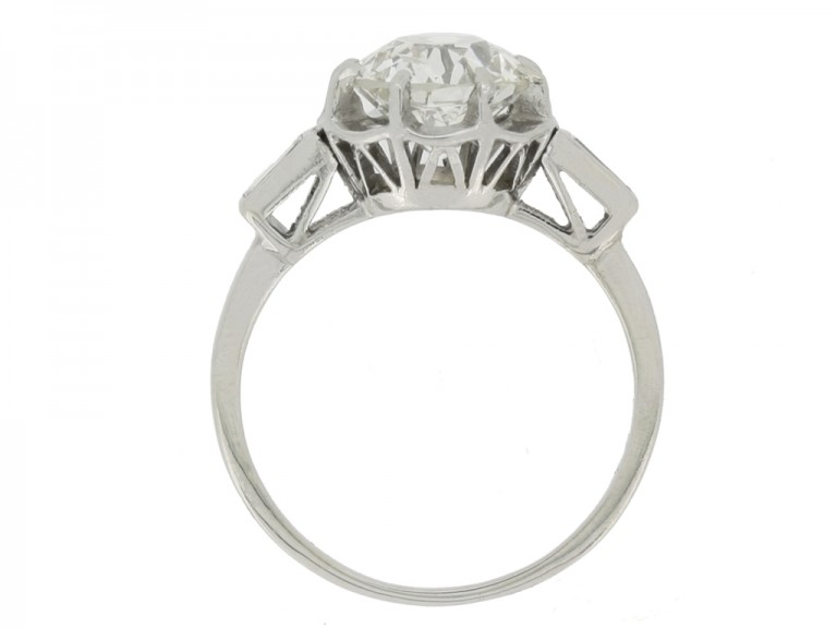 back view Solitaire diamond ring with diamond set shoulders