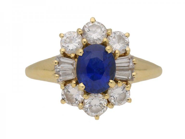 front vintage sapphire diamond ring berganza hatton garden