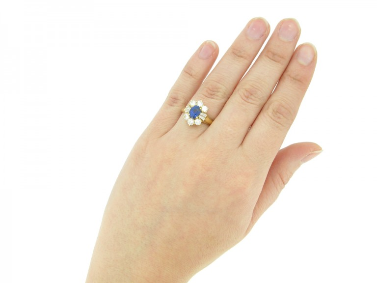side vintage sapphire diamond ring berganza hatton garden
