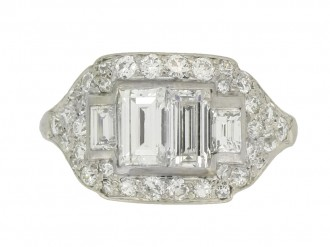 front view Art Deco diamond cluster ring, American, circa 1935.