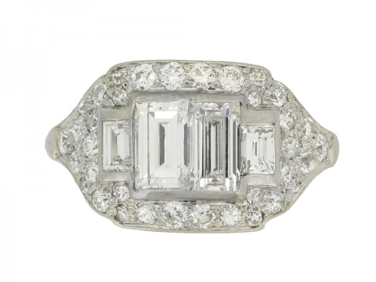 front view Art Deco diamond cluster ring, American, circa 1935.