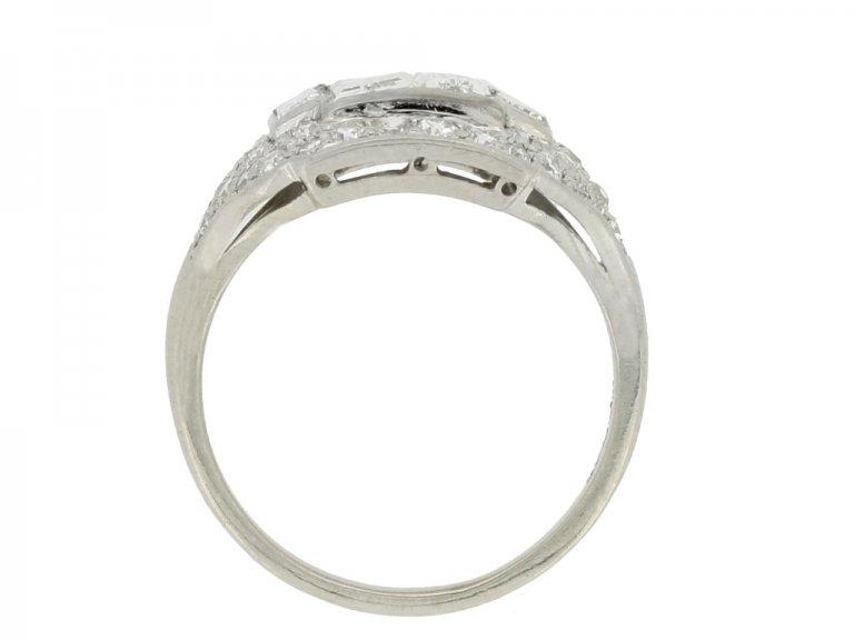 back view Art Deco diamond cluster ring, American, circa 1935.