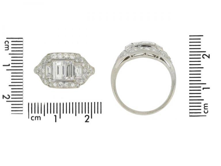 cert view Art Deco diamond cluster ring, American, circa 1935.