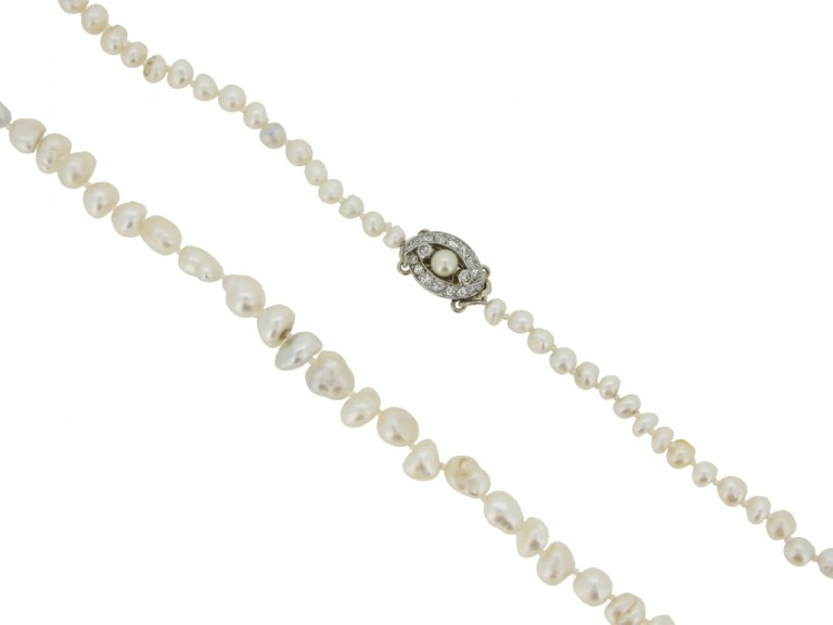 Natural pearl necklace with diamond clasp berganza hatton garden
