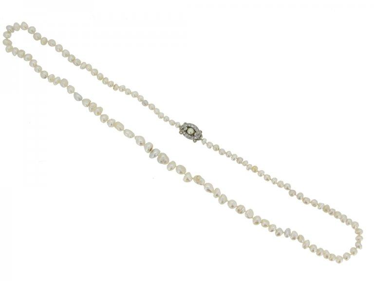 Natural pearl necklace with diamond clasp berganza hatton garden