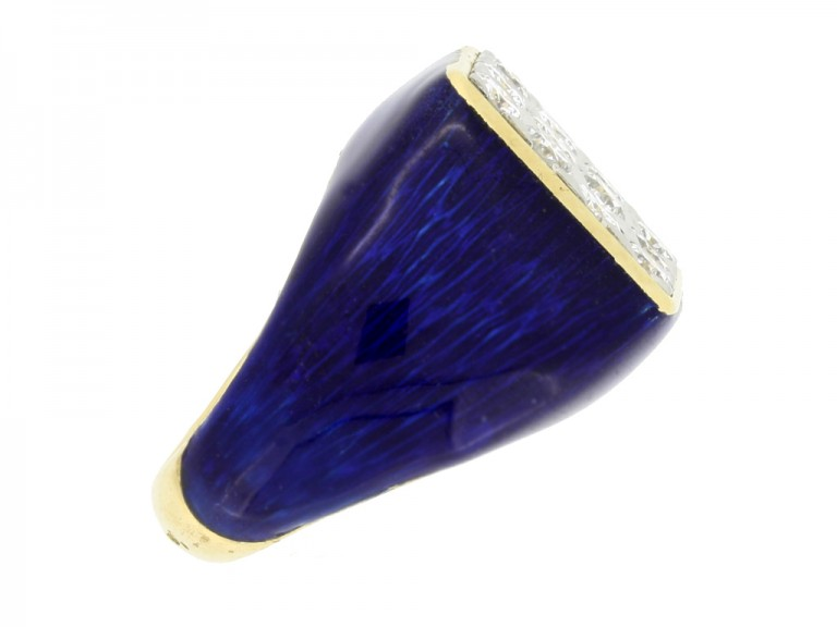 back view Fred of Paris vintage diamond cluster ring with blue enamel