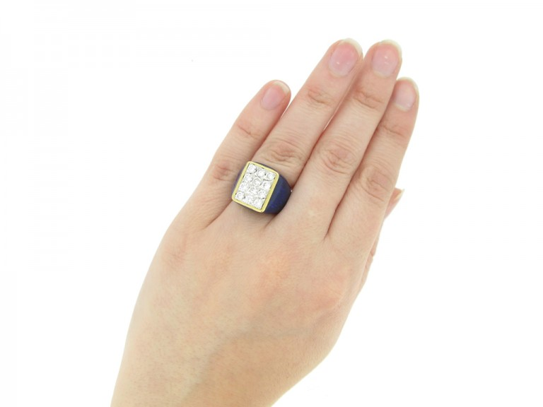 hand view Fred of Paris vintage diamond cluster ring with blue enamel