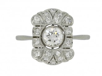 front view Art Deco diamond cluster ring, circa 1925.