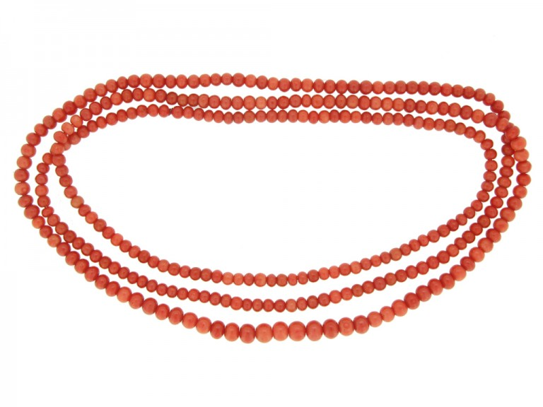 Antique coral necklace berganza hatton garden