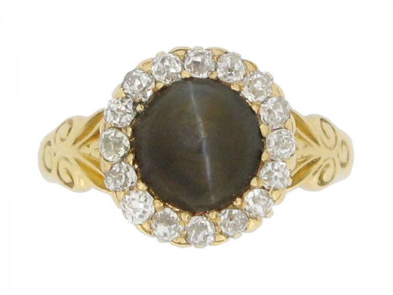 front view Cat's eye chrysoberyl and diamond coronet cluster ring, English, circa 1887.