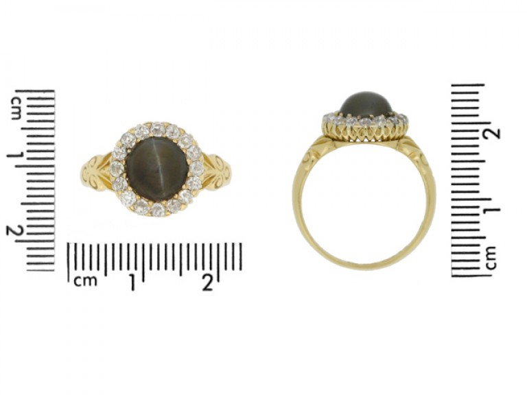size view Cat's eye chrysoberyl and diamond coronet cluster ring, English, circa 1887.