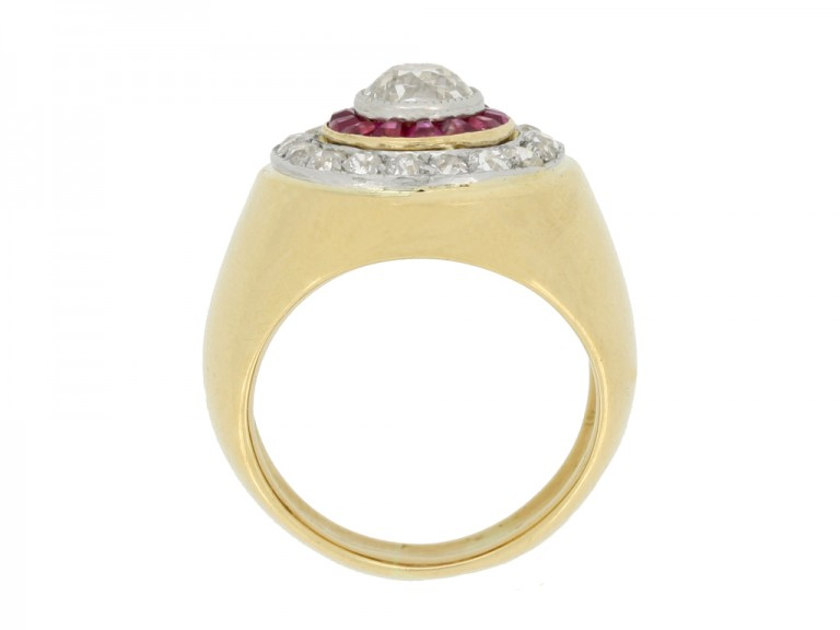 back view Ruby and diamond cluster ring, French, circa 1940.