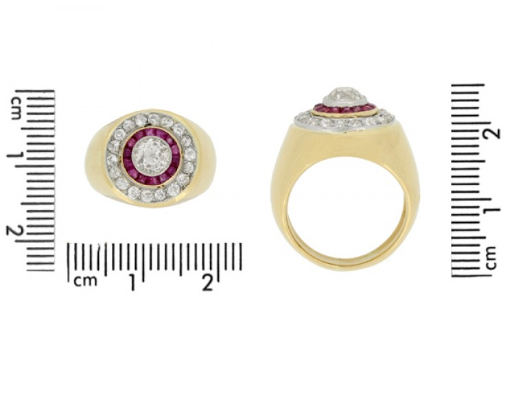 size view Ruby and diamond cluster ring, French, circa 1940.