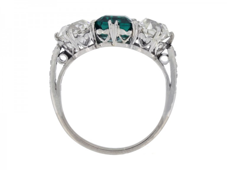 back view Colombian emerald and diamond three stone ring