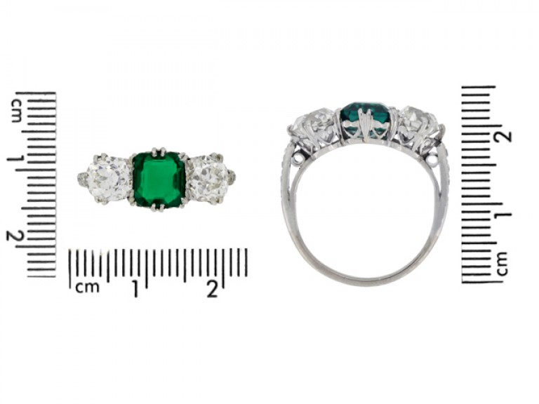 size view Colombian emerald and diamond three stone ring