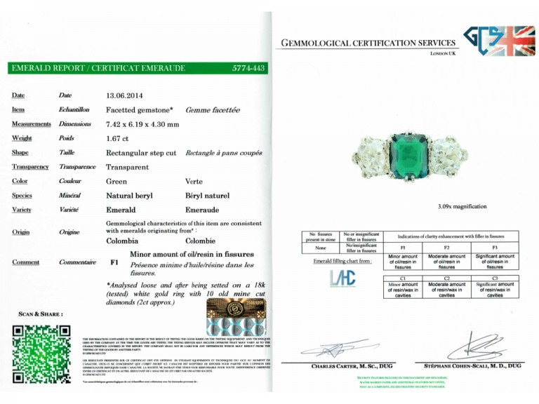 cert view Colombian emerald and diamond three stone ring