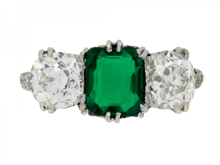front view Colombian emerald and diamond three stone ring
