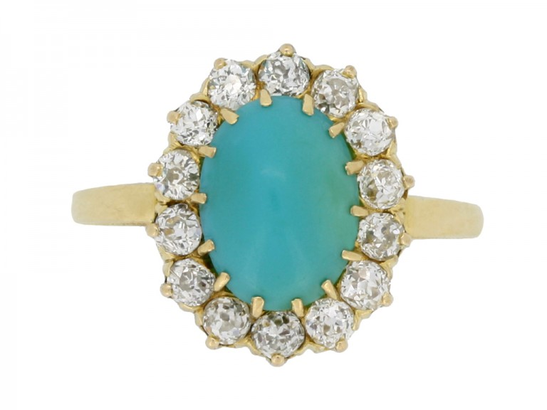 front view Antique turquoise and diamond coronet cluster ring