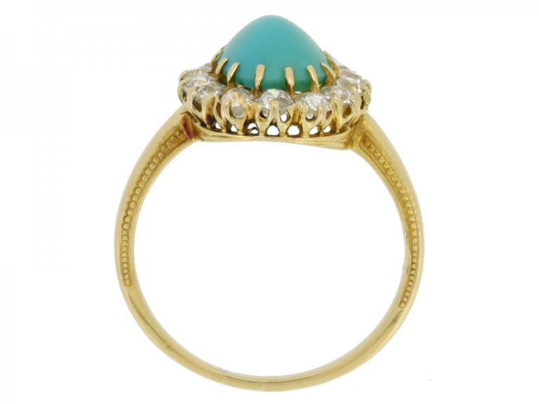 back view Antique turquoise and diamond coronet cluster ring
