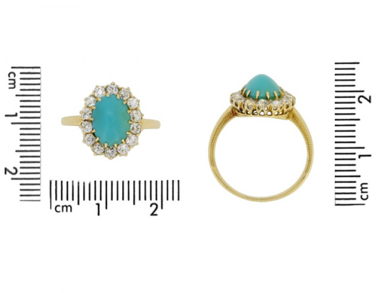 size view Antique turquoise and diamond coronet cluster ring