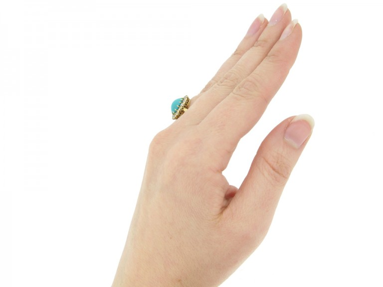 hand view Antique turquoise and diamond coronet cluster ring