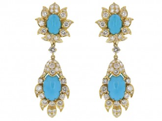 front view Vintage turquoise and diamond day and night clip earrings, circa 1960s. berganza hatton garden