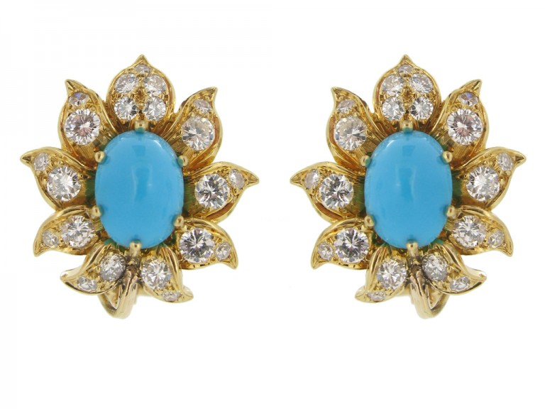 Vintage turquoise and diamond day and night clip earrings, circa 1960s. berganza hatton garden