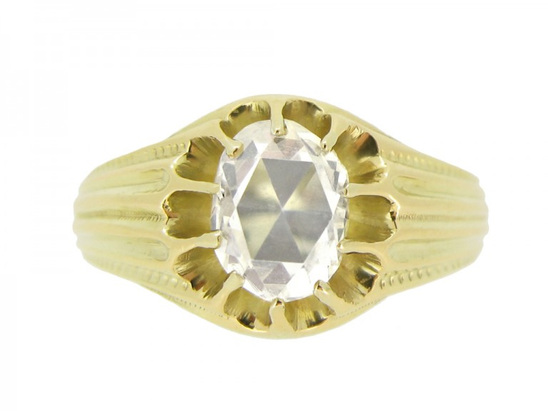 front view Antique solitaire rose cut diamond ring