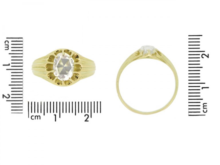 size view Antique solitaire rose cut diamond ring
