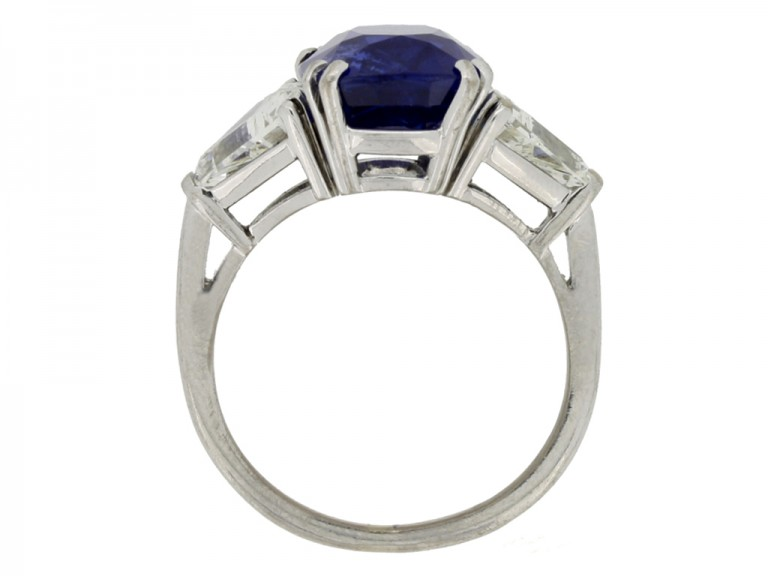 back view Natural Royal Blue Burmese sapphire and diamond ring