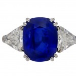Natural Royal Blue Burmese sapphire and diamond ring, circa 1960s.