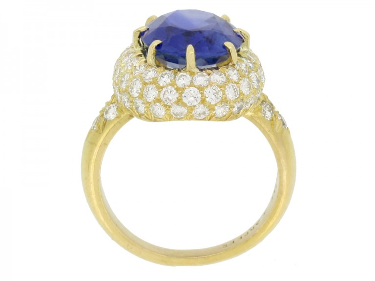 back view Van Cleef & Arpels Burmese sapphire and diamond coronet cluster ring