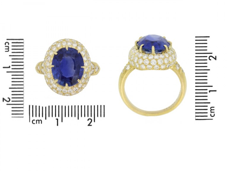 size view Van Cleef & Arpels Burmese sapphire and diamond coronet cluster ring