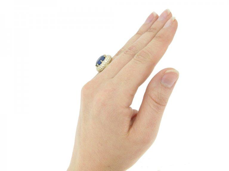 hand veiw Van Cleef & Arpels Burmese sapphire and diamond coronet cluster ring