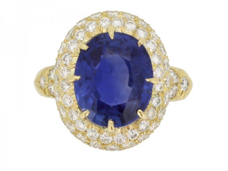 front veiw Van Cleef & Arpels Burmese sapphire and diamond coronet cluster ring
