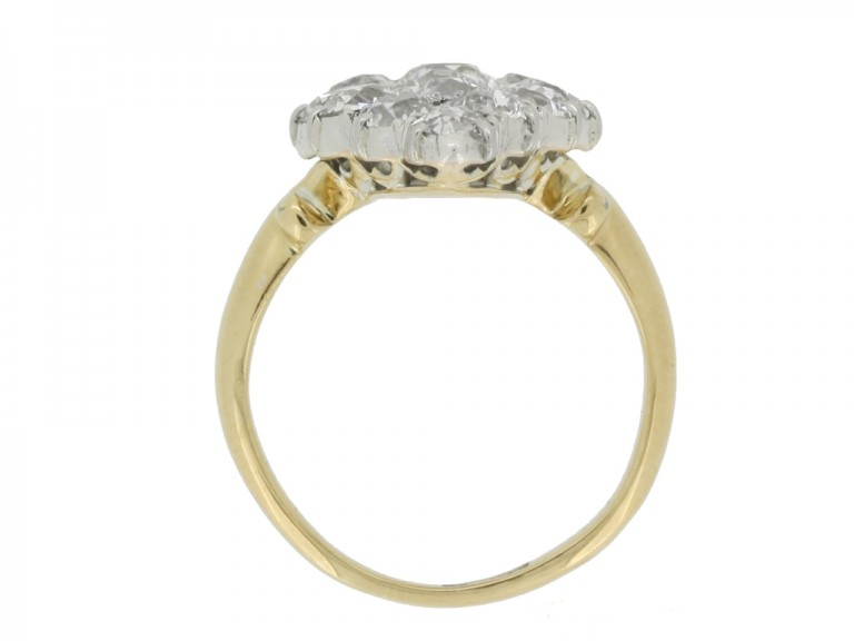 back view Antique diamond cluster ring, circa 1890.