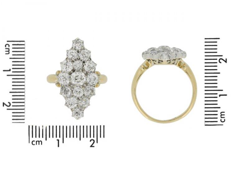 size view Antique diamond cluster ring, circa 1890.