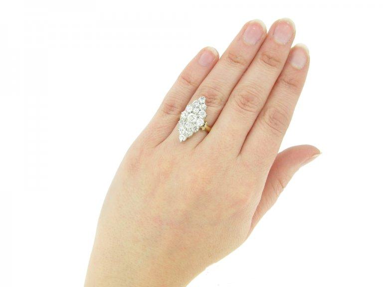 hand view Antique diamond cluster ring, circa 1890.