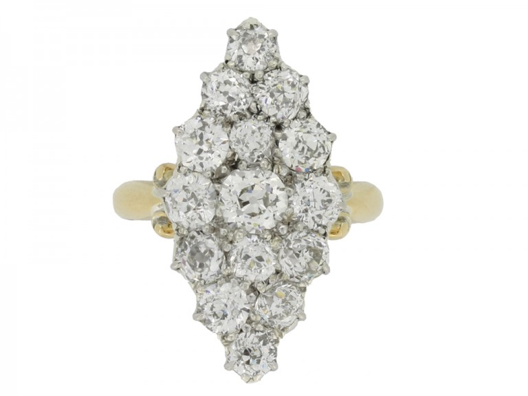 front view Antique diamond cluster ring, circa 1890.