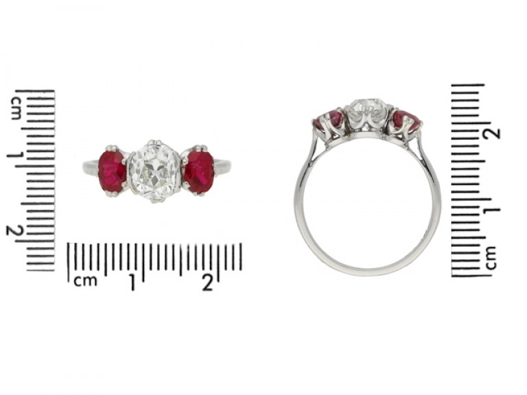 size view Diamond and ruby three stone ring, circa 1920.